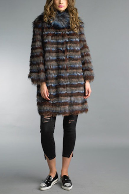 Light Weight Reversible Multi Color Fur Long Coat
