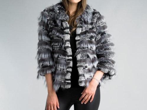 Sheared Rabbit and Fox Fur Jacket