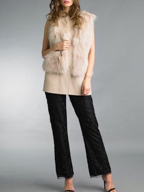 Wool / Cashmere Blend Long Vest Fur Applique