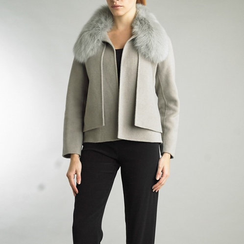 Couture Cashmere/wool blend short jacket with detachable fox fur collar