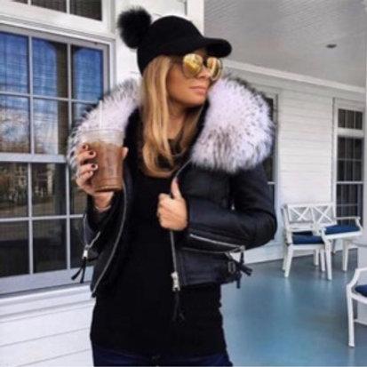 Lamb Leather Biker Jacket with Fox Fur Collar