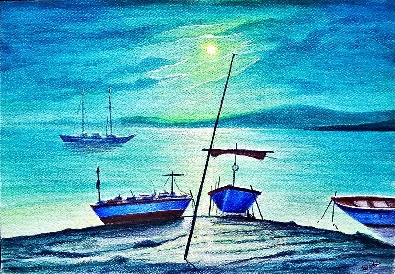 Midnight Blue Moon