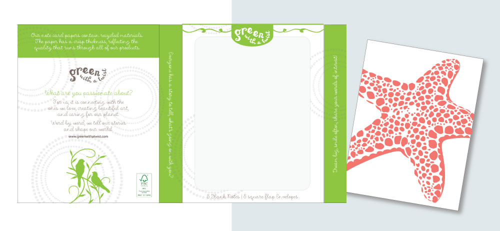 Green with a Twist Note Card Packaging