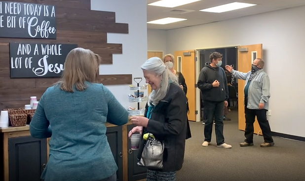 Horizon Church guests greeting each other