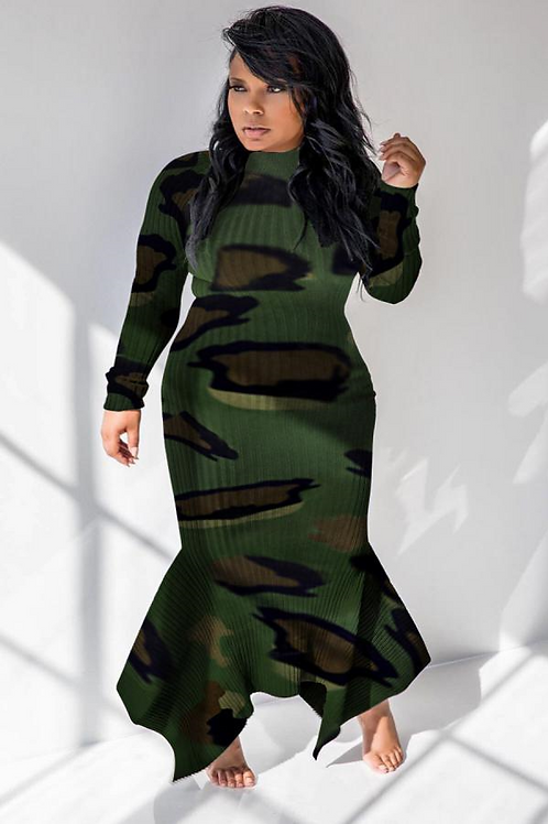 Camouflage Turtleneck / Bodycon Dress