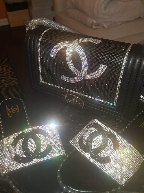 Bling Chanel Slides and Handbag