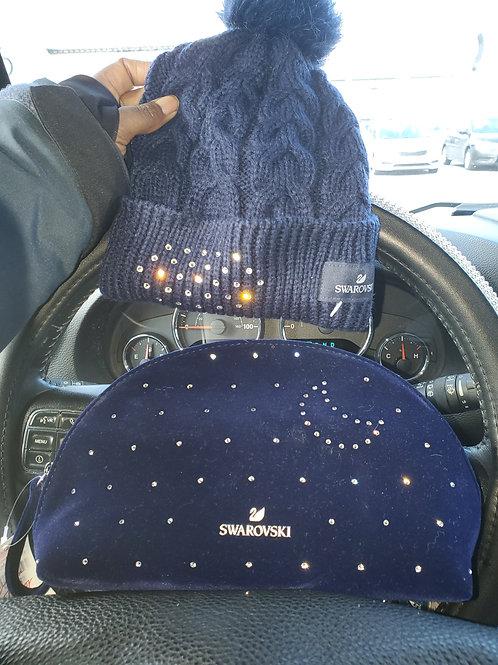 Swarovski Balled Hat and Makeuo/Clutch Bag