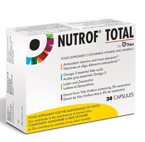 Nutrof Total - 30 Capsules. Food Supplement Containing Vitamins and Minerals. 30