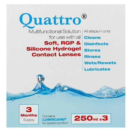 Quattro Multifunctional solution 3 month pack, 3x250ml Plus free 100ml pack