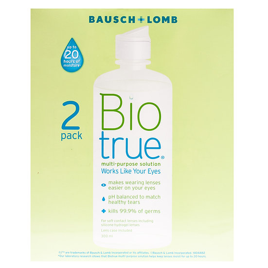 Biotrue Set of 2 Bottles of Contact Lens Solution 300 ml Plus a free 60ml Pack