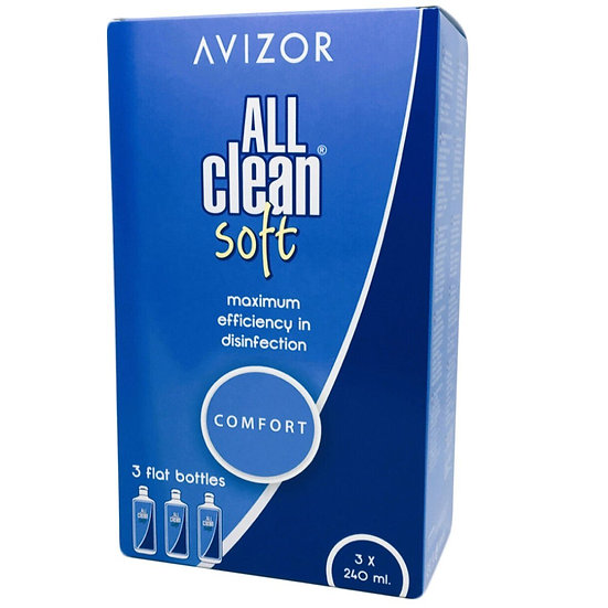 All Clean Soft All-In-One Contact Lens Solution 3x240ml +free 60ml pack