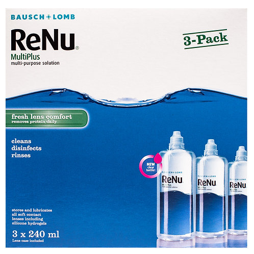 Renu Multiplus Contact Lens Solution 3x 240ml (3months' Supply) +free 60ml pack