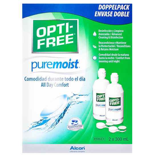 OPTI-FREE PureMoist Contact Lens Solution 3month supply 2x300ml