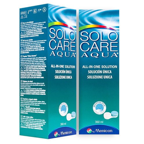 Solocare Aqua 2 x 360ml - 3 month supply +free 90ml pack