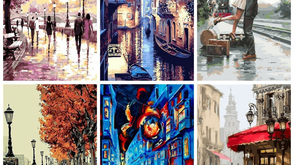 40x50cm Painting by Numbers Landscape DIY  Canvas Painting Kits for Adults
