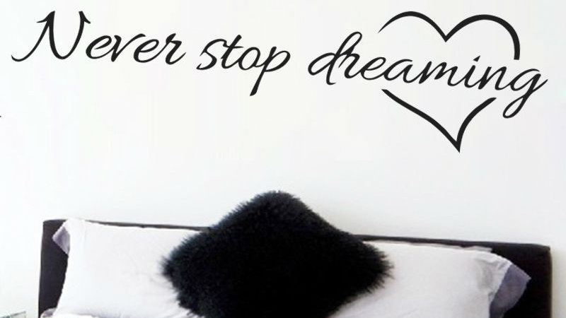 Never Stop Dreaming Quotes Wall Stickers for Kids Rooms Bedroom Home Decals