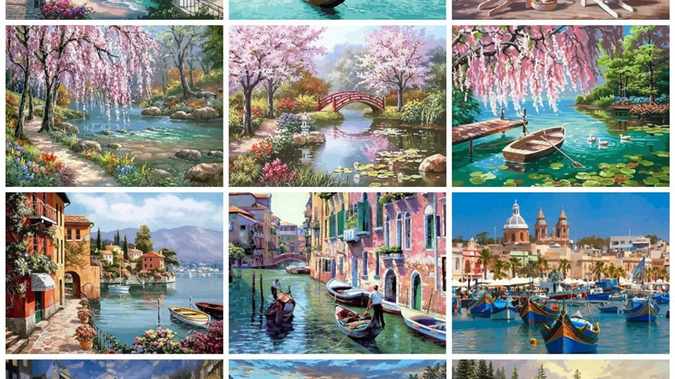 Scenery Paints by Number Canvas Painting Kits 50x40cm River Oil Painting