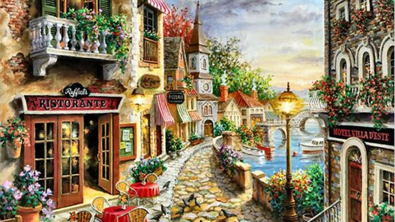 Castle Path Hand Made Paint High Quality Canvas Beautiful Painting by Number