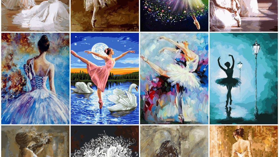 Painting by Numbers Ballet Dancer DIY Canvas Picture Hand Painted