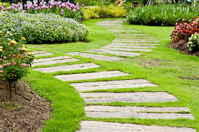 Landscaping in the garden. The path in t