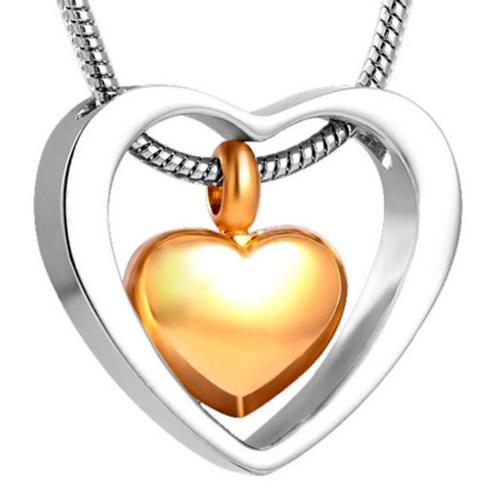 Relicario corazón dorado y plateado