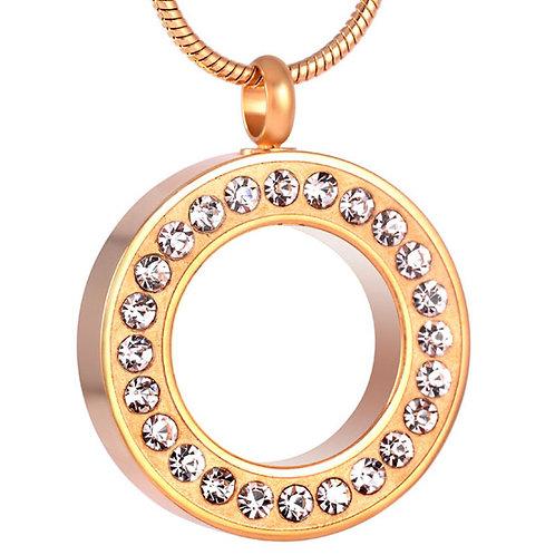 Relicario Circulo Dorado con Cristales
