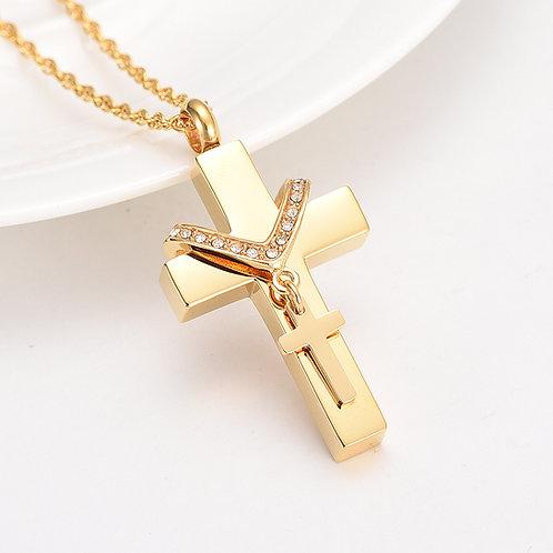 Relicario Cruz Dorada con cruz Mini.