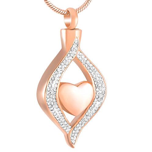 Relicario corazón diamantes oro rosa