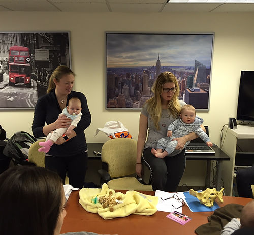 New moms practice balance with baby