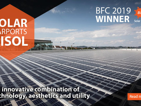 BFC 2019 – Clean sweep of BISOL Lumina carport solar power plant from Belgium!