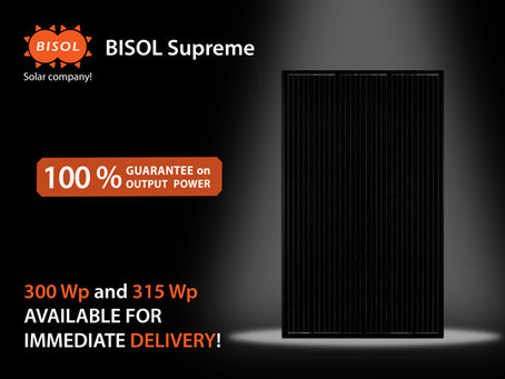 BISOL Supreme, the only 100 % Output Power Guarantee PV module, with limited immediate availability