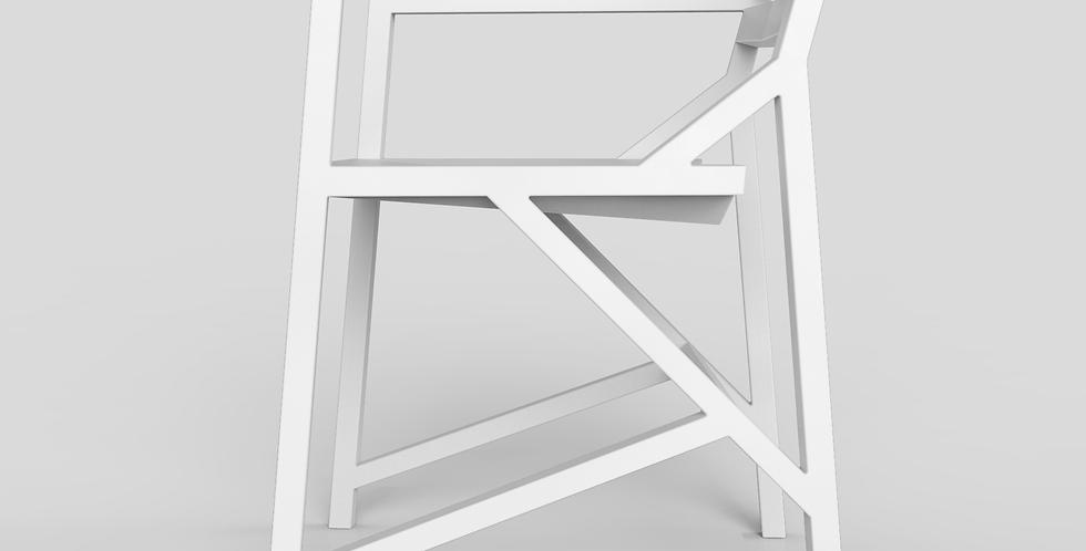 witte eetkamerstoel met armleuning zij aanzicht