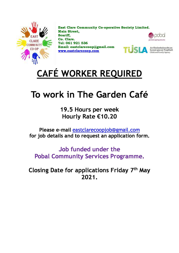 Local Advert - Pobal Cafe Worker Require