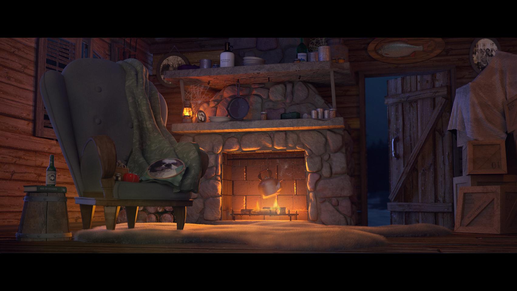 """Textured and lit scene.  Model by Taylor Schulze and Alyssa Minko © Disney / Pixar - RenderMan """"Rustic Cabin"""" Art Challenge"""