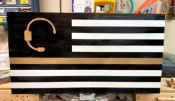 Thin Gold Line Head Set Flag