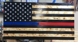 Burned Blue and Red Line Flag