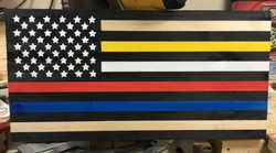 Thin Gold, White, Red and Blue Line Flag
