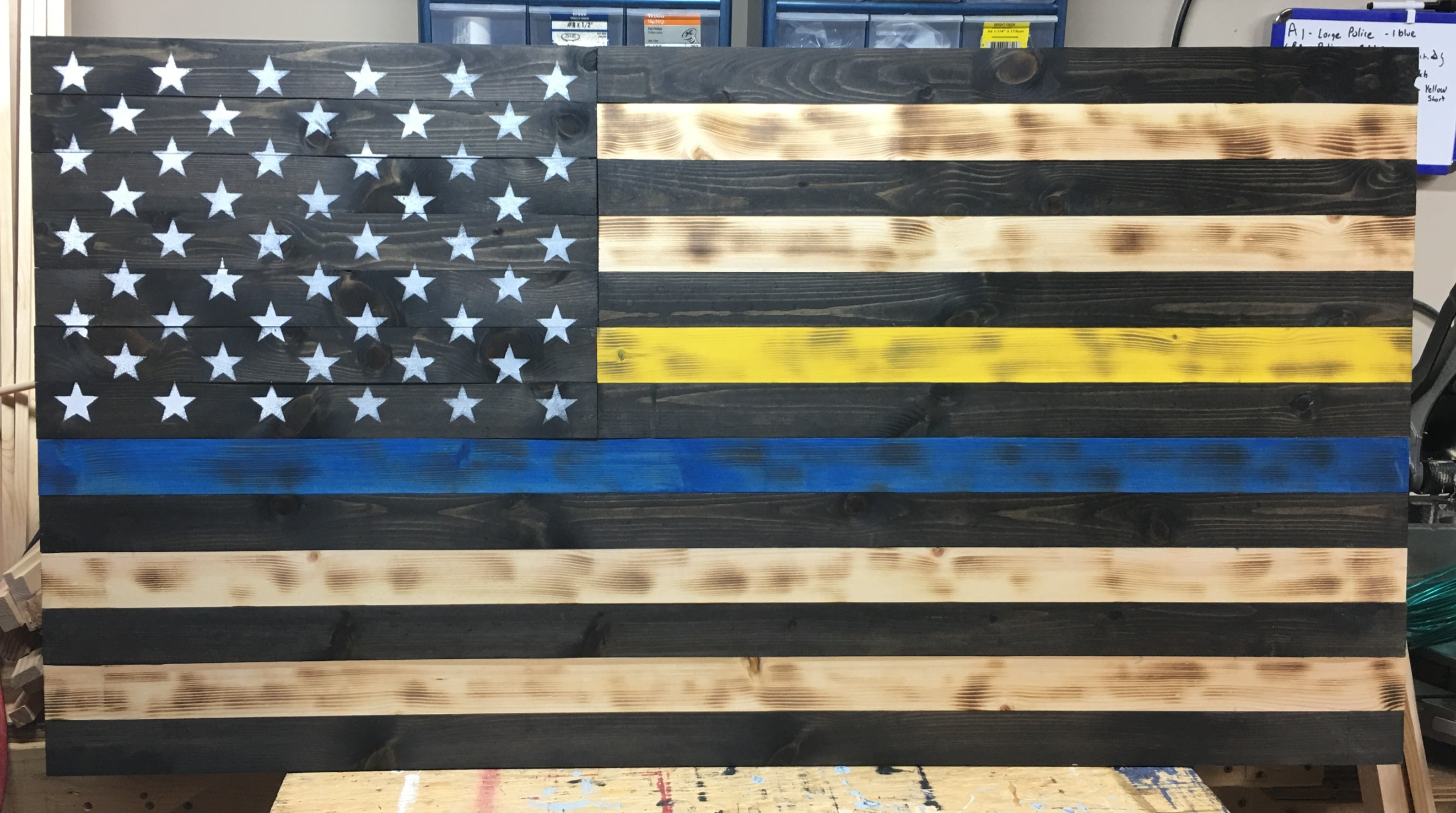 Stained Thin Blue and Gold Line Flag