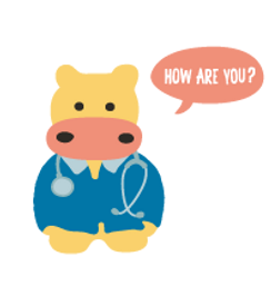 cartoon hippo doctor asking 'how are you?'
