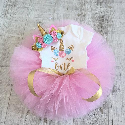 Unicorn 1st Birthday Set - Pink
