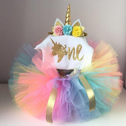 Unicorn 1st Birthday Set - Rainbow