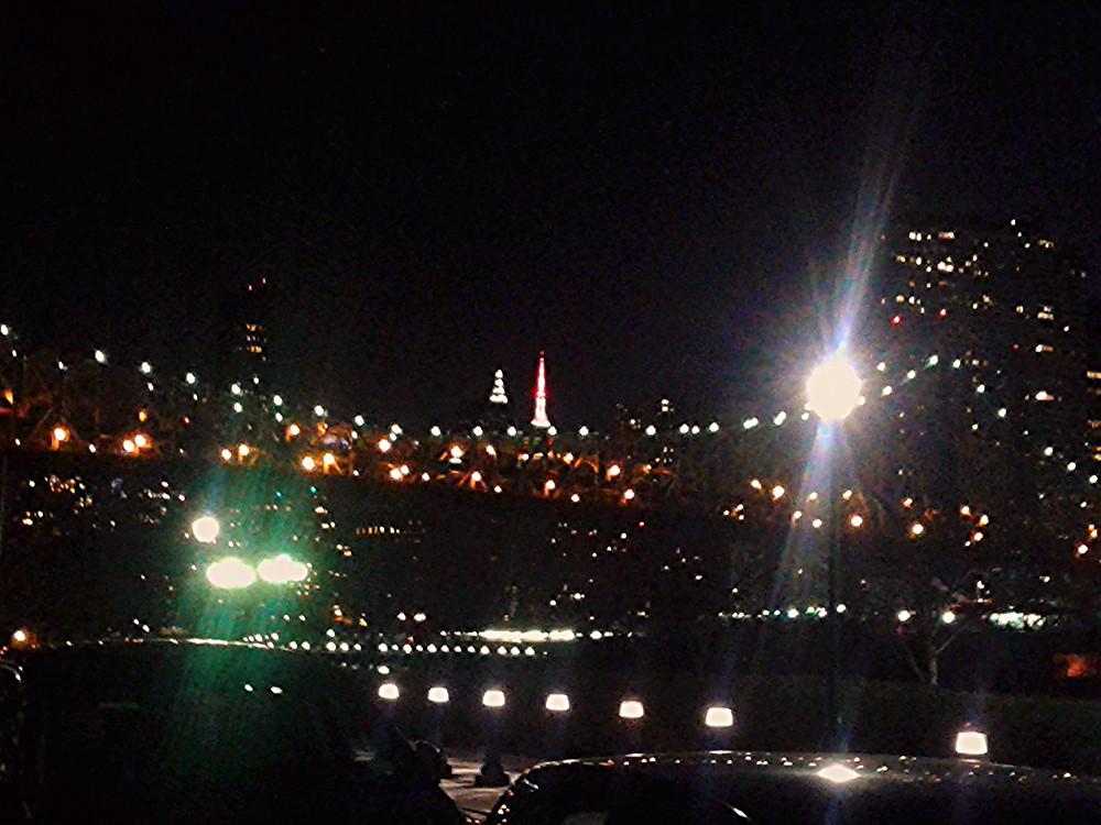 元日夜、ルーズベルトアイランドから橋ごしのマンハッタン