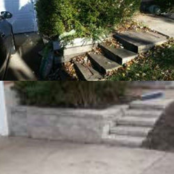 Before and after steps and wall_#MRiveralandscaping #lakecountyil #landscapingwaukegan #lakeforestil