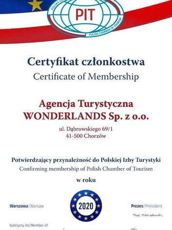 Certyfikat Członkostwa potwierający przynależność do Polskiej Izby Turystyki