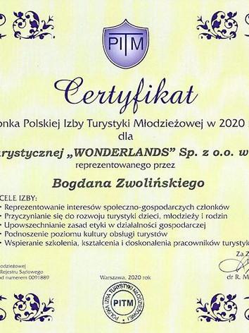 Certyfikat Członka Polskiej Izby Turystyki Młodzieżowej w 2020 roku