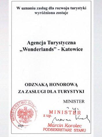Odznaka Honorowa za zasługi dla Turystyki