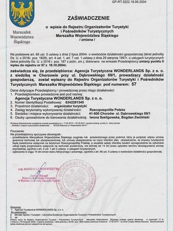 Zaświadczenie o wpisie do Rejestru Organizatorów Turystyki i Pośredników Turystycznych Marszałka Województwa Śląskiego