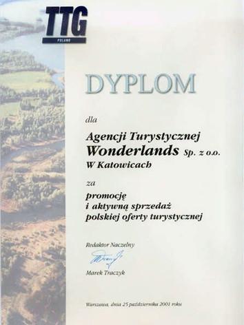 Dyplom za promocję i aktywną sprzedaż polskiej oferty turystycznej