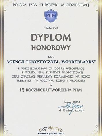 Polska Izba Turystyki - Dyplom Honorowy