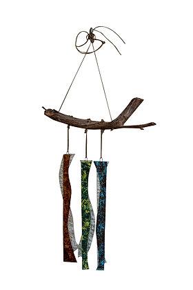 """מובייל """"אדמה רוח ואש"""" מזכוכית על ענף גפן טבעי"""